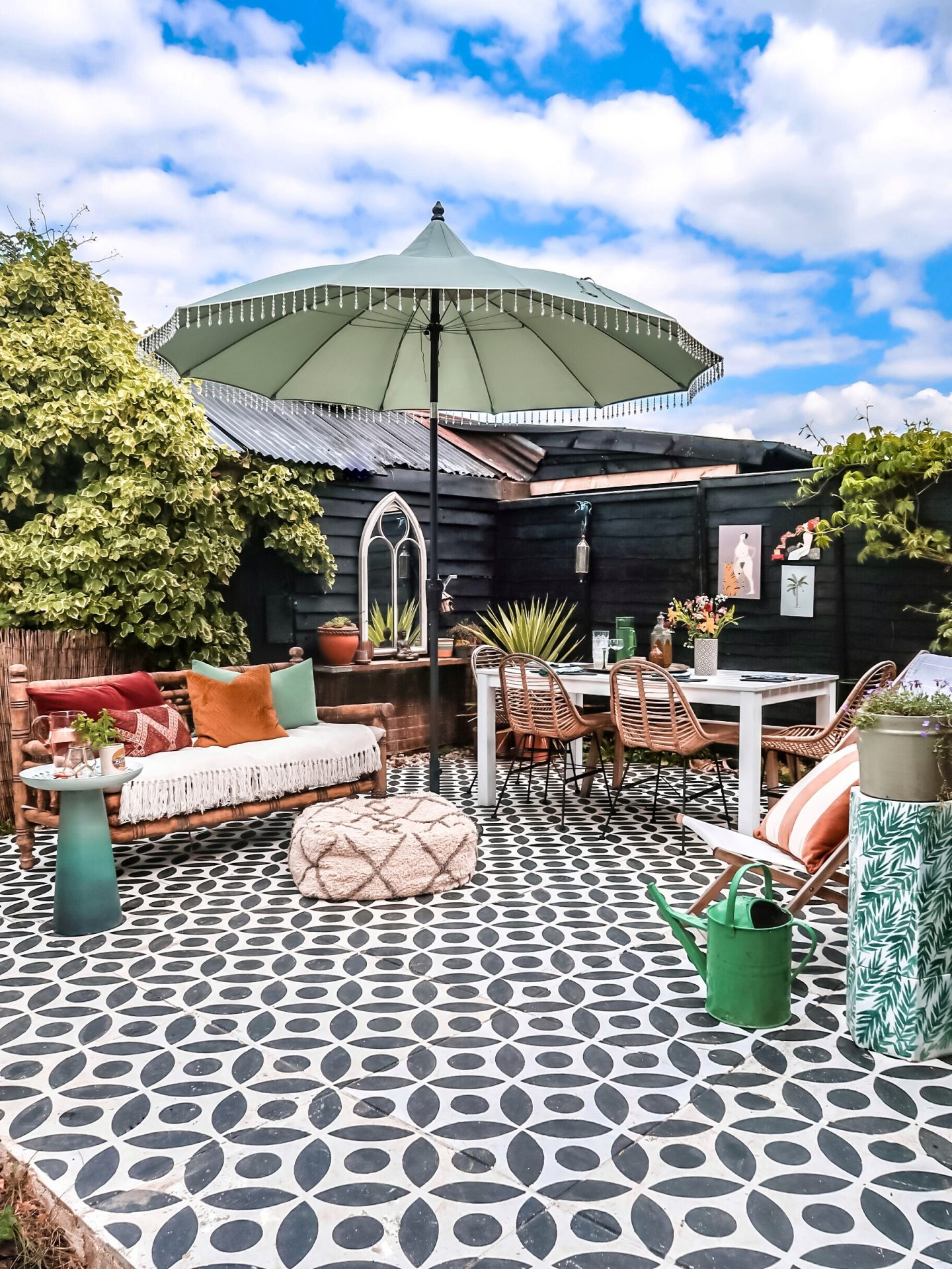 My stencilled patio a year on…